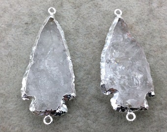 "2-2.5"" Arrowhead Shaped Silver Electroformed Clear Quartz Connector - ~ 50mm-60mm Long, Approximately - Sold Individually, Randomly Chosen"