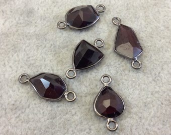"Jeweler's Lot OOAK Gunmetal Plated Natural Garnet Five Faceted Flat Back Free Form Copper Bezel Connectors ""G1C"" 10-15mm - As Shown!"