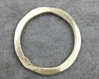 21mm Gold Brushed Finish Open Hammered Circle/Ring/Hoop Shaped Plated Copper Components - Sold in Packs of 10 Pieces - (484-GD)