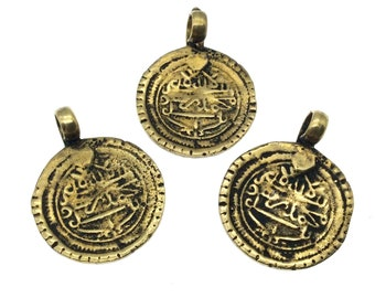 """1"""" Oxidized Gold Plated Rustic Cast Abstract Symbols Design Copper Round/Disc Pendant W Attached Ring  - 25mm Diameter, Approximately"""