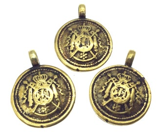 """3/4"""" Oxidized Gold Plated Rustic Cast Coat-of-Arms Design Copper Round/Disc Pendant W Attached Ring  - 18mm Diameter, Approximately"""