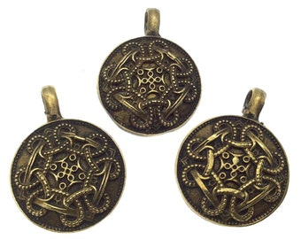 """3/4"""" Oxidized Gold Plated Rustic Cast Domed Knot Design Copper Round/Disc Pendant with Attached Ring  - 18mm Diameter, Approximately"""