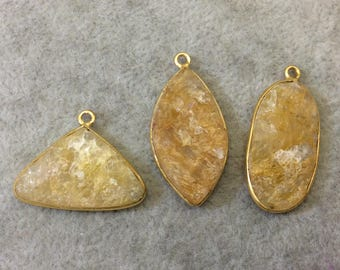 "Jeweler's Lot Gold Plated Natural Raw Citrine - Three Flat Back Free Form Copper Bezel Pendants ""RCT12"" - 16mm x 30m Long - Sold As Shown!"