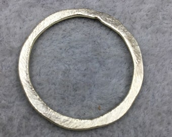 28mm Gold Brushed Finish Open Hammered Circle/Ring/Hoop Shaped Plated Copper Components - Sold in Packs of 10 Pieces - (485-GD)