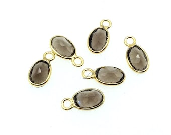 BULK LOT - Pack of Six (6) Gold Vermeil Pointed/Cut Stone Faceted Oval Shaped Natural Smoky Quartz Bezel Pendants - Measures 4mm x 6mm