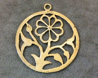 Gold Plated Flower/Blossom Cutout Circle Shaped Brushed Finish Copper Components - Measuring 34mm x 34mm - Sold in Packs of 10 (342-GD)