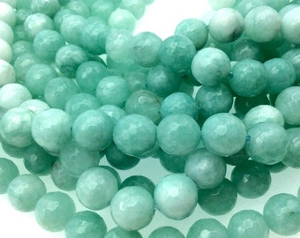 "10mm Faceted Light Aqua/White Agate Round/Ball Shaped Beads - 15"" Strand (Approximately 38 Beads) - Natural Semi-Precious Gemstone"