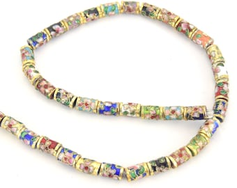 """6mm x 10mm Decorative Floral Multicolor Tube Shaped Metal/Enamel Cloisonné Beads - Sold by 15"""" Strands (~ 39 Beads Per Strand)"""