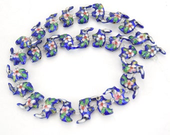 """18mm x 18mm Decorative Floral Medium Blue Elephant Shaped Metal/Enamel Cloisonné Beads - Sold by 15"""" Strands (Approx. 28 Beads Per Strand)"""
