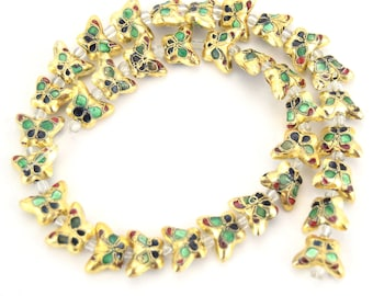 """10mm x 15mm Decorative Floral Gold Puffed Butterfly Shaped Metal/Enamel Cloisonné Beads - Sold by 15"""" Strands (Approx. 34 Beads Per Strand)"""