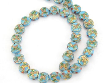 """11mm Decorative Floral Sky Blue Puffed Drum Shaped Metal/Enamel Cloisonné Beads - Sold by 15"""" Strands (Approx. 36 Beads Per Strand)"""