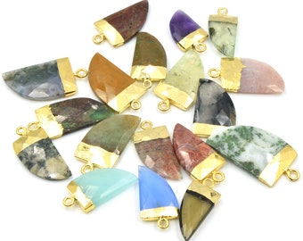 Gold Electroplated Horn Pendant CP-0054 Small Horn Pendant Dendrite Opal Horn Pendant 1 pc