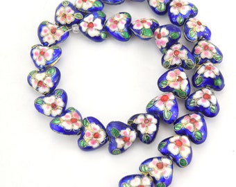 """14mm x 16mm Decorative Floral Cobalt Blue Puffed Heart Shaped Metal/Enamel Cloisonné Beads - Sold by 15"""" Strands (~ 31 Beads Per Strand)"""