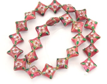 """16mm Decorative Floral Rose Pink Puffed Diamond Shaped Metal/Enamel Cloisonné Beads - Sold by 15"""" Strands (Approx. 24 Beads Per Strand)"""