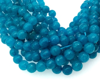 "8mm Faceted Dyed Teal Blue Natural Jade Round/Ball Shaped Beads with 1mm Beading Holes - Sold by 15.25"" Strands (Approx. 47 Beads)"