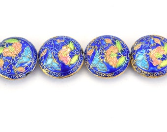 """20mm Decorative Floral Cobalt Blue Puffed Coin Shaped Metal/Enamel Cloisonné Beads - Sold by 15"""" Strands (Approx. 21 Beads Per Strand)"""