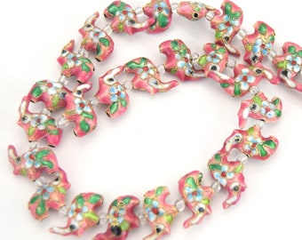 """18mm x 18mm Decorative Floral Rose Pink Elephant Shaped Metal/Enamel Cloisonné Beads - Sold by 15"""" Strands (Approx. 28 Beads Per Strand)"""