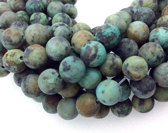 """8mm Matte Finish Natural African Turquoise Jasper Round/Ball Shaped Beads with 1mm Holes - Sold by 15.5"""" Strands (Approx. 47 Beads)"""