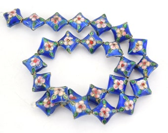 """16mm Decorative Floral Medium Blue Puffed Diamond Shaped Metal/Enamel Cloisonné Beads - Sold by 15"""" Strands (Approx. 24 Beads Per Strand)"""