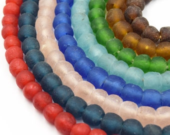 21 Strand African Glass Beads 10mm Recycled African Glass Round Rondelle Beads ~58 Beads Sold by Approx