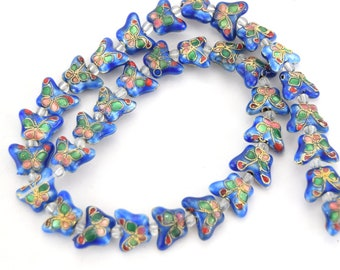 """10mm x 15mm Decorative Floral Medium Blue Puffed Butterfly Shape Metal/Enamel Cloisonné Beads - Sold by 15"""" Strands (~ 34 Beads Per Strand)"""