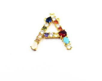 25mm x 35mm Letter V Multi-color Rhinestone Pendant with Two Loops Gold Alphabet Rhinestone Pendant