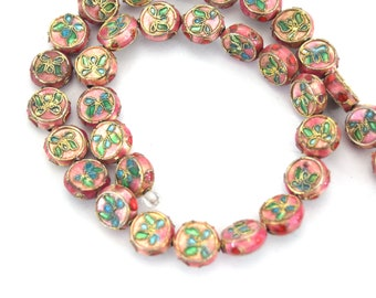 """11mm Decorative Floral Rose Pink Puffed Drum Shaped Metal/Enamel Cloisonné Beads - Sold by 15"""" Strands (Approx. 36 Beads Per Strand)"""
