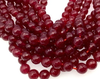 "8mm Faceted Mixed Wine Red Agate Round/Ball Shaped Beads - 15"" Strand (Approximately 48 Beads) - Natural Semi-Precious Gemstone"