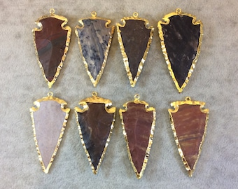 "2-2.5"" Gold Finish Arrowhead Shaped Electroplated Mixed Jasper Pendant - Measuring 50mm-65mm Long - Sold Individually, Randomly Chosen"