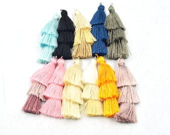 Tassels   2 inch Three Tiered Tassel   Silk/Polyester Threaded   Layered Tassel   Jewelry Tassel Charm Pendant- Pink, Blue, Black, White