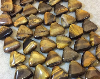 "Smooth Tiger Eye Flat Triangle Shaped Beads - Measuring 15mm x 15mm - 15"" Strand (Approximately 28 Beads) - Natural Gemstone Bead Strand"