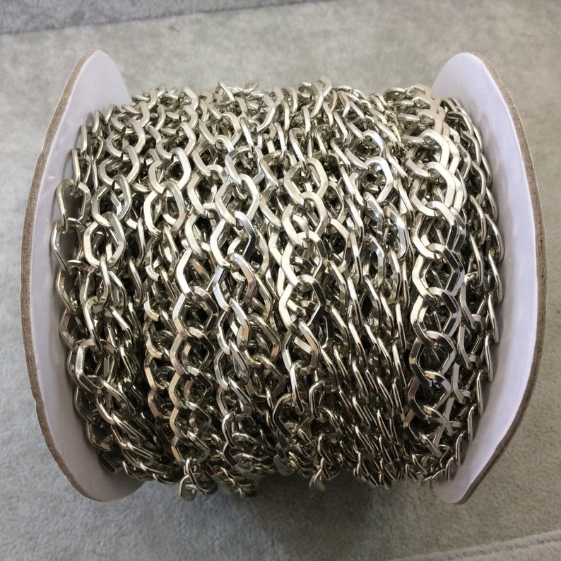 A1519 FULL SPOOL Three Finishes Available Silver Plated Aluminum Wide DiamondAngular Shaped Flat Link Curb Chain with 9mm x 11mm Links