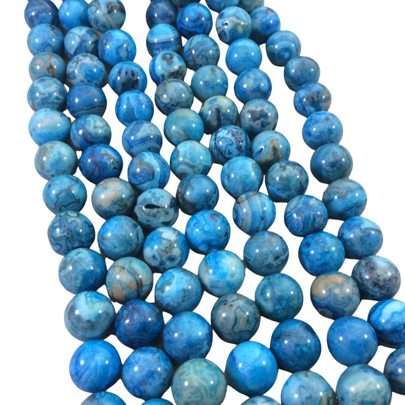 Approx. 39 Beads Sold by 15.5 Strands 10mm Glossy Finish Dyed Blue Natural Crazy Lace Agate RoundBall Shaped Beads with 1mm Holes