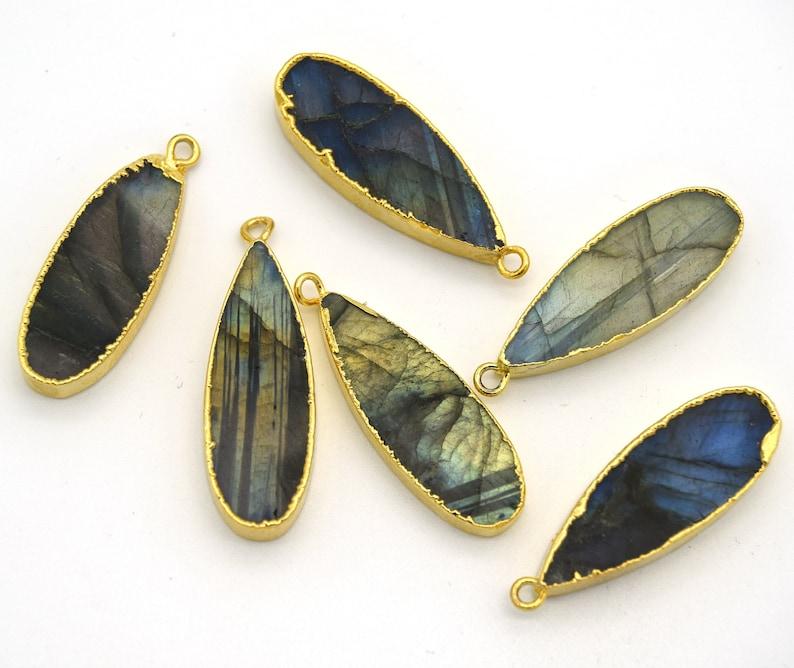 11mm x 30mm Gold Plated Natural Iridescent Long Teardrop Shaped Flat Pendant Blue Green Labradorite Bezel