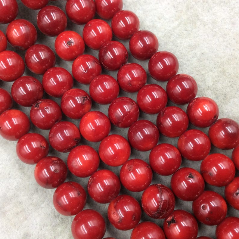15.5 Strand Approx. 37 Beads per Strand 11mm Glossy Finish Dyed Red Sea Bamboo Coral RoundBall Shaped Beads with 1mm Holes