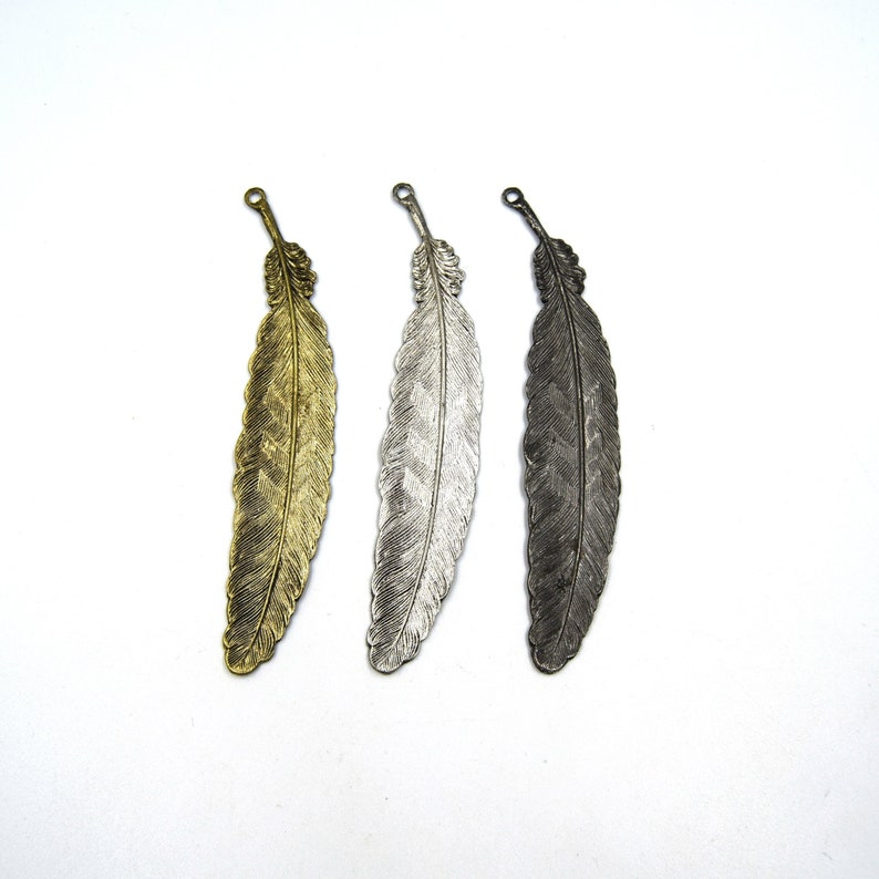 4.5 inches Feather Pendant Gold Gunmetal Silver Feather Shaped Brass Pendant