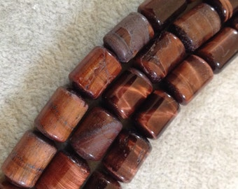 Large Hole (2.5mm) Red Tiger's Eye Barrel Cylinder Bead Strand, 10mm x 14mm, approx. 14 beads per strand