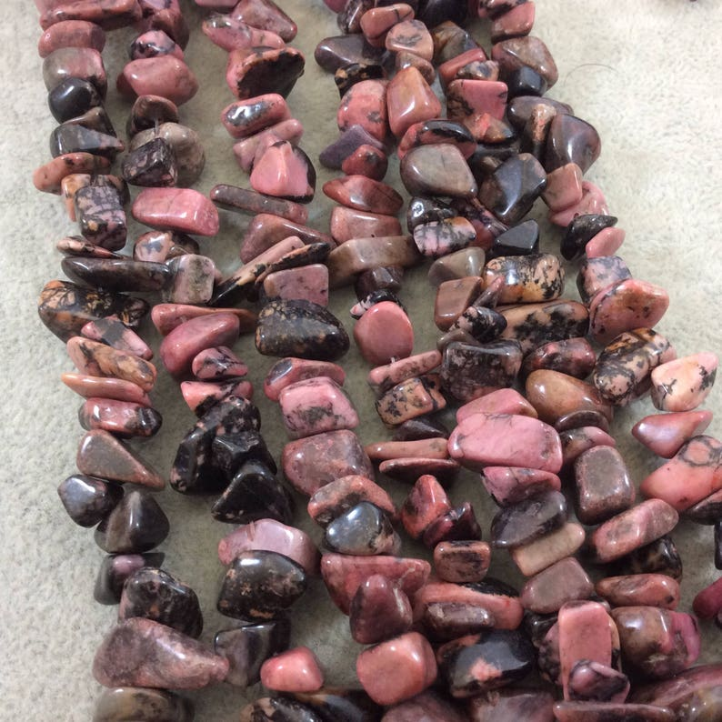 Natural Dendritic Rhodonite Chunky Nugget Shaped Beads with 1mm Holes Approx. 75-80 Beads - Measuring 10-15mm Wide Sold by 16 Strands
