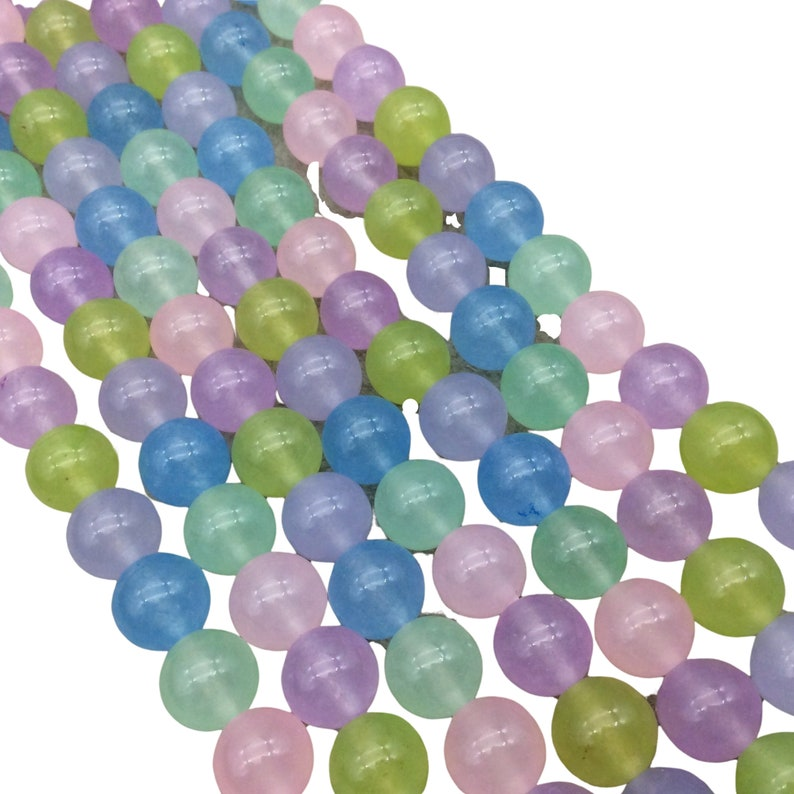 Sold by 14.5 Strands - Quality Gemstone 10mm Glossy Smooth Dyed Mixed Pastel Natural Jade RoundBall Shaped Beads ~ 38 Beads