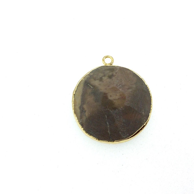 Medium Gold Electroplated Faceted Coin Shaped Pendant Measures 30-35mm approx Eagle Eye Agate Bezel - Sold Individually