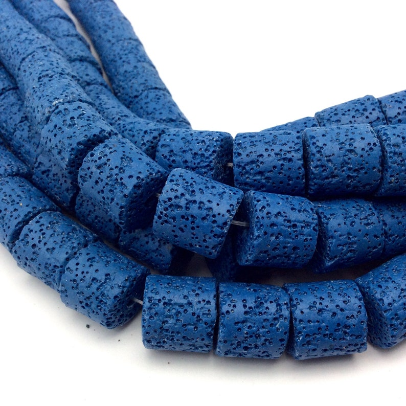 Sold by 16 Strands 15mm x 15mm Blue Barrel Shaped Natural Lava Rock Beads with 2mm Holes Approx. 26 Beads