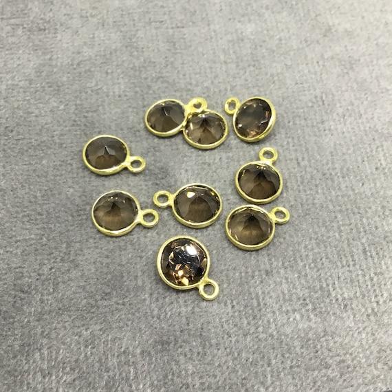 GROS lot de Six 6 or argent pointe/Coupe Pierre rond/pièce de monnaie en forme Quartz fumé facetté lunette pendentifs - mesurant 6 mm x 6 mm