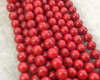 """10mm Glossy Finish Dyed Red Sea Bamboo Coral Round/Ball Shaped Beads with 1mm Holes - 15.75"""" Strand (Approx. 41 Beads per Strand)"""