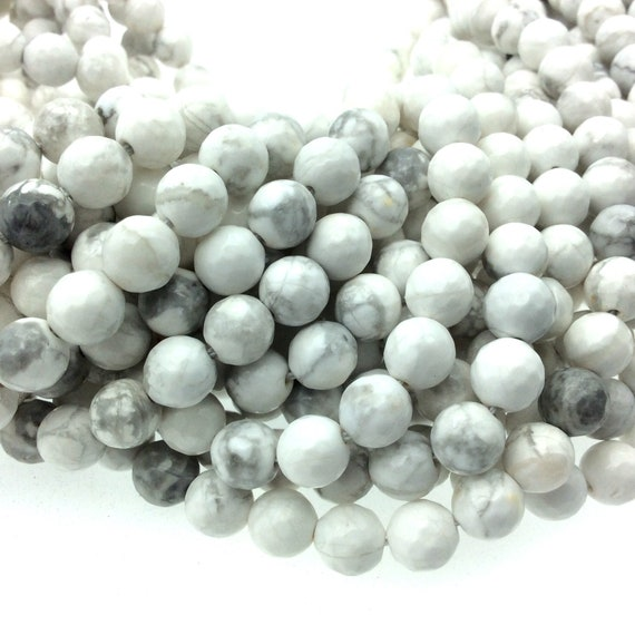 Gray White Veined Marble Bathrooms: 8mm Faceted Gray Veined White Howlite Round/Ball Shaped