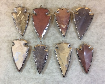 "1.5-2"" Gunmetal Finish Arrowhead Shaped Electroplated Mixed Jasper Pendant - Measuring 40mm-50mm Long - Sold Individually, Randomly Chosen"