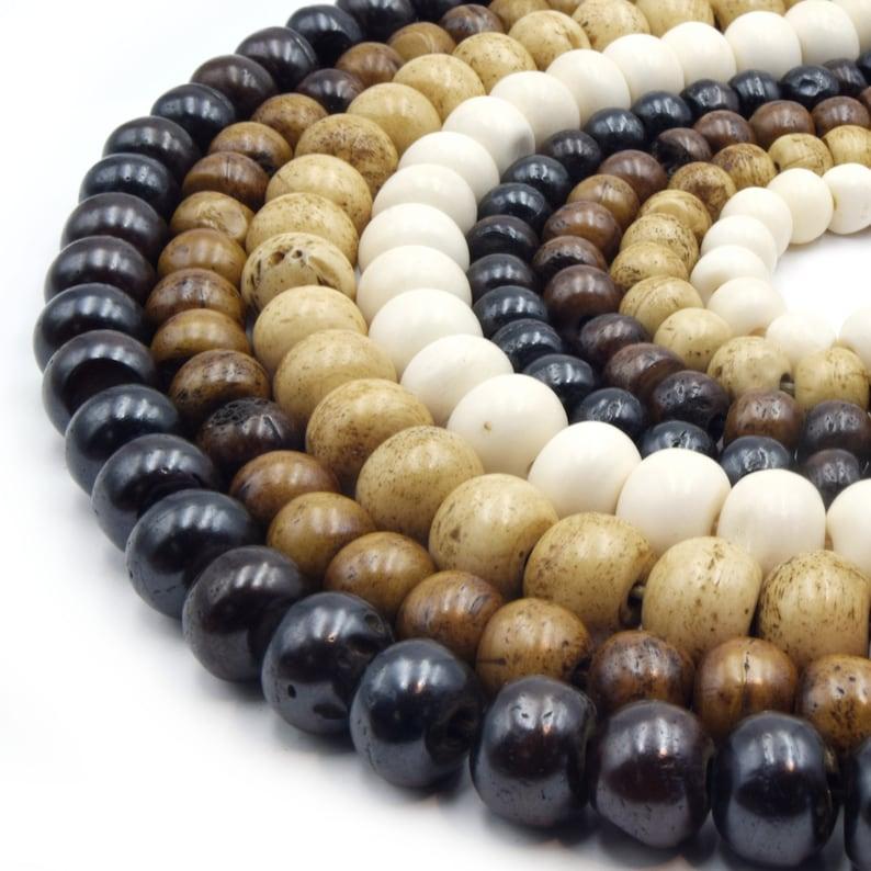 Bone Beads  Ox Bone Round Rondelle Beads  White Bone Beads image 0