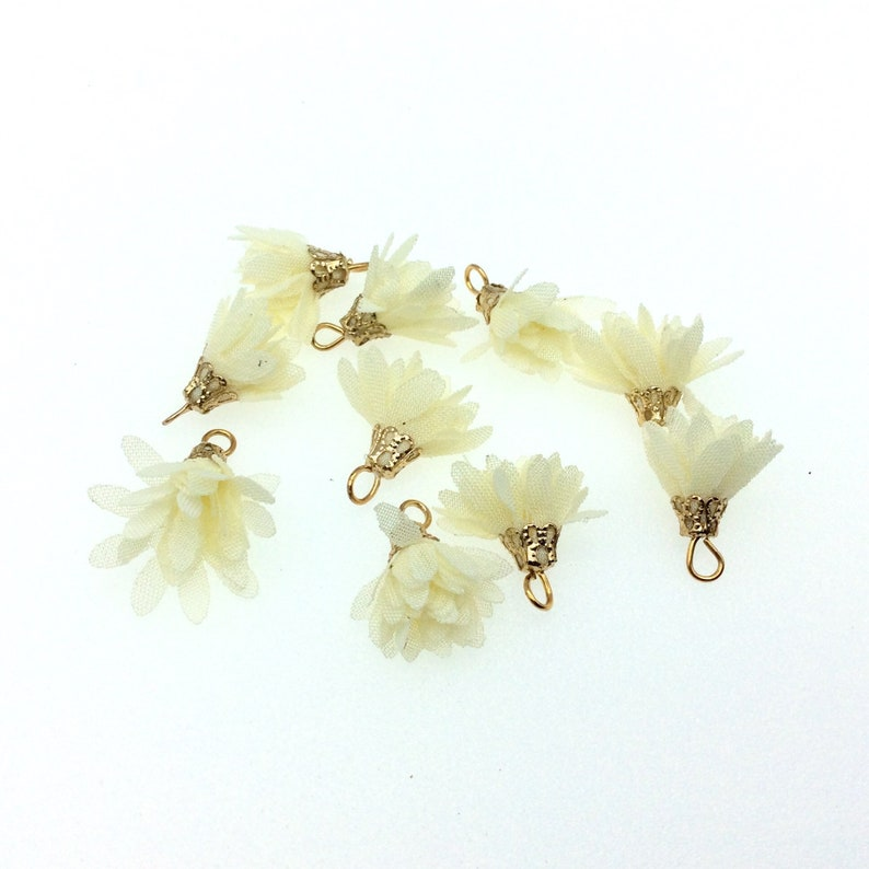 Sold in Pkg of Ten! Many Colors See Related Items! 12 Cream Organza Mini Tutu Tassels w Gold Cap ~ 15mm x 15mm