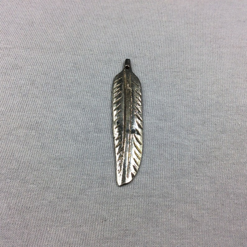 Sold Individually Measuring 13mm x 58mm Selected at Random Large Silver-Plated Copper Long Pointed LeafFeather Shaped Pendant Style A