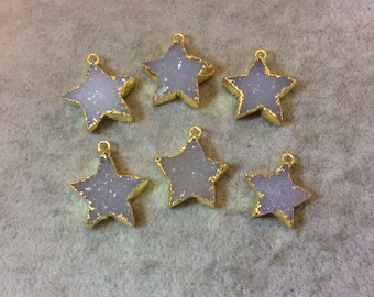 Premium Gold Electroplated Star Shaped Natural Druzy Pendant - Measuring 19mm x 19mm, Approximately - Sold Individually, Randomly Chosen