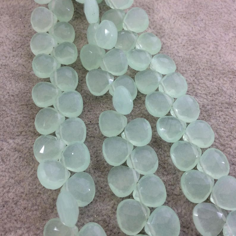 8 Inches briolett huge size heart shape Aqua Chalcedony Faceted Superb - Size -10-11 mm  Approx